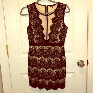 Black & Cream Lace Dress